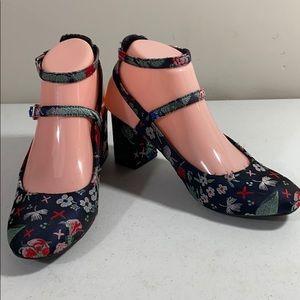 Indigo Road satin floral oriental print shoes
